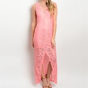 New peach long lace front slit formal dress